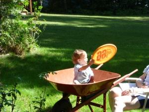 Fun in the wheelbarrow!