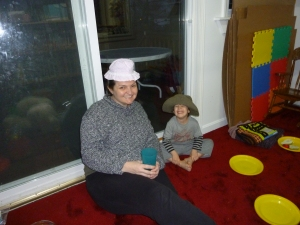Auntie A and LP have fun with hats