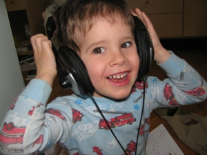 Rocking out with Dad's headphones