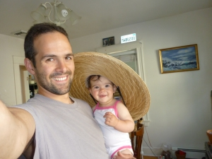 The G-man and his baby bug (IP).  She is wearing his gardening/beach/sun hat.
