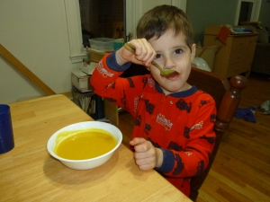 Mmmmm . . . eating soup in jammies!