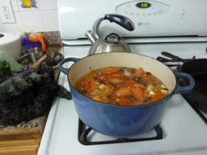 Tomato soup simmering away (before the puree step!)