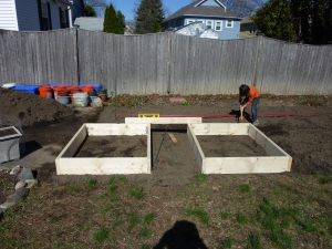 LP setting up raised beds!