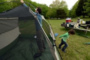 Setting up the tent!