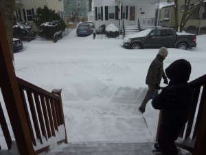 Daddy and LP shoveling