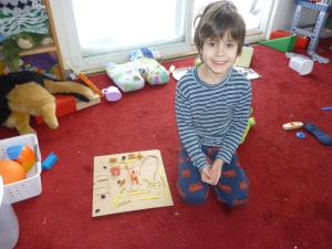 LP with one of his preschool creations (we used the snow storm as an excuse to clean the play room)