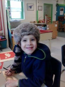 Even though he is a vegan kiddo, he still picks the coonskin cap at school. Sigh.